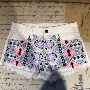 Joe's Jeans White Denim Sequin Aztec Tribal Shorts